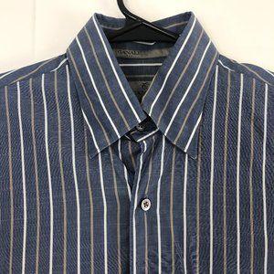Canali Mens Medium LS Button Front Dress Shirt